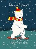 逗人喜爱的动画片北极熊滑雪 库存图片