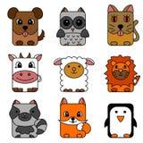 逗人喜爱的动画片圈子动物收藏 库存图片