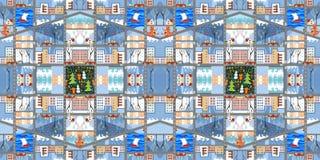 逗人喜爱的动画片地图 冬天城市的无缝的样式 库存图片