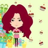 逗人喜爱的动画片女孩在生日聚会背景(ve中 图库摄影