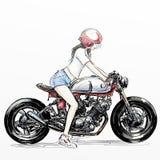 逗人喜爱的动画片女孩骑马摩托车 库存照片