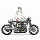 逗人喜爱的动画片女孩骑马摩托车 库存图片