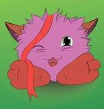 逗人喜爱的动画片妖怪和一条红色丝带 库存照片