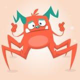逗人喜爱的动画片妖怪蜘蛛 万圣夜桃红色和有角的妖怪字符 特写镜头 库存照片