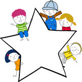 逗人喜爱的动画片孩子使用和框架 库存图片