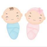 逗人喜爱的动画片孪生婴孩 男婴和女婴动画片 库存照片