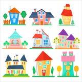 逗人喜爱的动画片安置汇集 滑稽的五颜六色的孩子传染媒介房子集合 免版税库存图片