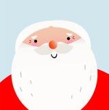 逗人喜爱的动画片微笑的圣诞老人面对 库存图片