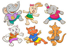 逗人喜爱的动画片愉快的动物集合 库存图片