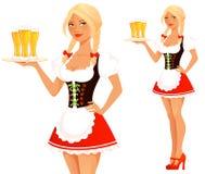 逗人喜爱的动画片慕尼黑啤酒节女孩 库存照片
