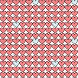 逗人喜爱的动画片手拉的心脏无缝的样式背景例证 免版税图库摄影