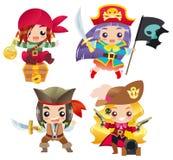 逗人喜爱的动画片海盗设置了1 免版税库存照片