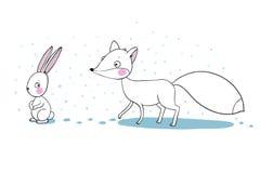 逗人喜爱的动画片狐狸和野兔 图库摄影