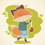 逗人喜爱的动画片狐狸庆祝卡片 免版税库存照片
