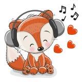 逗人喜爱的动画片狐狸 库存图片