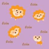 逗人喜爱的动画片狮子,传染媒介例证 库存图片