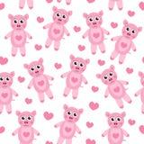 逗人喜爱的动画片猪小狗无缝的纹理 儿童的背景织品 也corel凹道例证向量 免版税库存图片