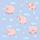 逗人喜爱的动画片猪,传染媒介例证 免版税库存图片