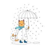 逗人喜爱的动画片猫、伞、雨和水坑 库存照片