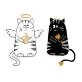 逗人喜爱的动画片猫、天使和恶魔 免版税库存照片
