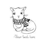 逗人喜爱的动画片猫和围巾 图库摄影