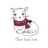 逗人喜爱的动画片猫和围巾 库存照片