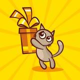逗人喜爱的动画片猫给礼物 库存照片