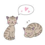 逗人喜爱的动画片猫 免版税库存照片