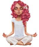 逗人喜爱的动画片瑜伽女孩 库存例证