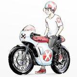 逗人喜爱的动画片男孩骑马摩托车 库存照片