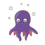 滑稽传染的人物大象媒介紫色,逗人的水下的漫画喜爱章鱼牌子密码箱带个动物的是什么例证图片
