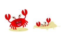 逗人喜爱的动画片红色螃蟹, 免版税库存图片