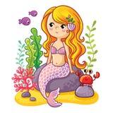 逗人喜爱的动画片美人鱼坐岩石 免版税库存照片