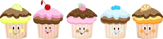 逗人喜爱的动画片蛋糕被设置眼睛 免版税库存照片