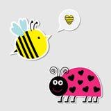 逗人喜爱的动画片蜂和夫人臭虫。卡片。 免版税库存图片