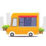 逗人喜爱的动画片街道食物自动贩卖机推车传染媒介例证 免版税库存照片