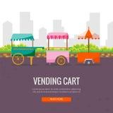 逗人喜爱的动画片街道食物自动贩卖机推车在城市 库存图片