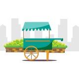 逗人喜爱的动画片街道食物自动贩卖机推车 免版税库存照片