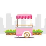 逗人喜爱的动画片街道食物自动贩卖机推车 库存照片