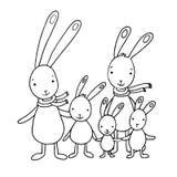 逗人喜爱的动画片野兔家庭  库存图片