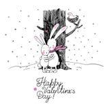逗人喜爱的动画片野兔 冬天 库存图片
