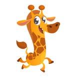逗人喜爱的动画片长颈鹿字符象 传染媒介不适 免版税库存照片