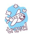 逗人喜爱的动画片飞机吉祥人 免版税库存图片