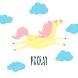 逗人喜爱的动画片马和蓝色云彩 免版税库存图片