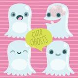 逗人喜爱的动画片鬼魂集合。滑稽的万圣夜字符 库存照片