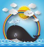 逗人喜爱的动画片鲸鱼的例证 免版税库存照片