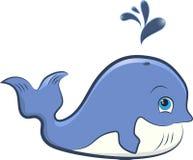 逗人喜爱的动画片鲸鱼 免版税图库摄影