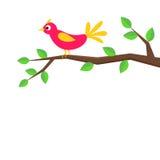 逗人喜爱的动画片鸟坐桦树 向量例证