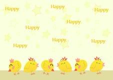逗人喜爱的动画片鸡,传染媒介例证 免版税库存照片