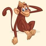 逗人喜爱的动画片猴子开会 舒展他的头的黑猩猩的传染媒介例证 儿童图书例证或贴纸 免版税库存照片